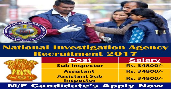 National Investigation Agency (NIA) Recruitment 2017